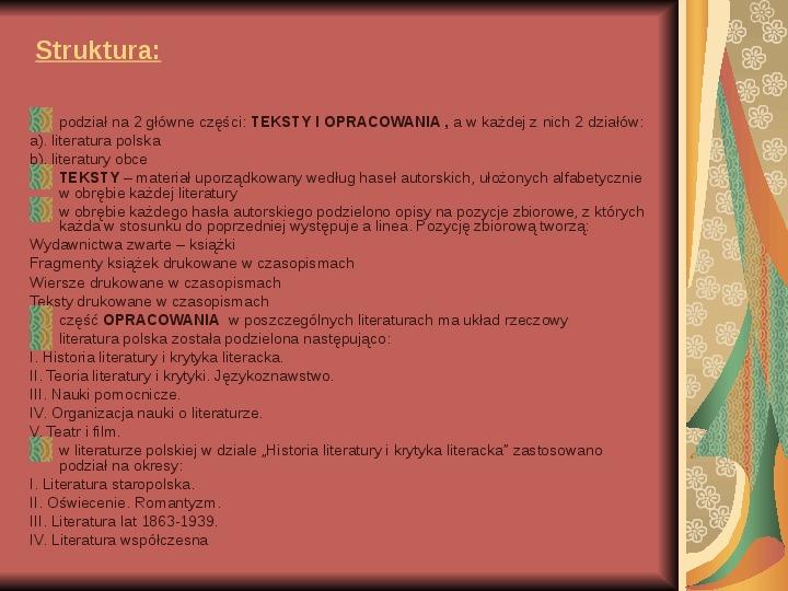 Źródła informacji z dziedziny historii literatury - Slajd 14