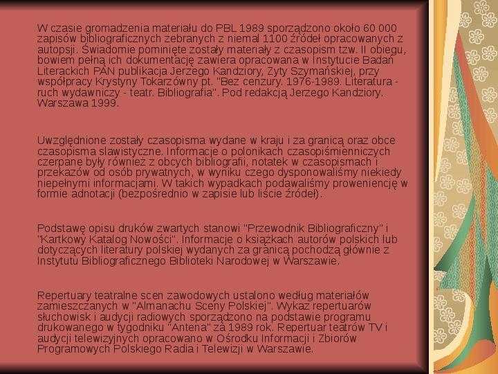Źródła informacji z dziedziny historii literatury - Slajd 20