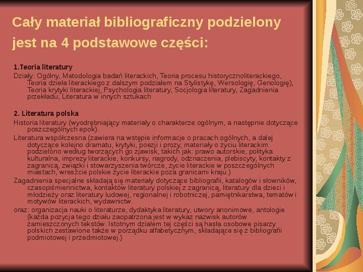 Źródła informacji z dziedziny historii literatury - Slajd 21
