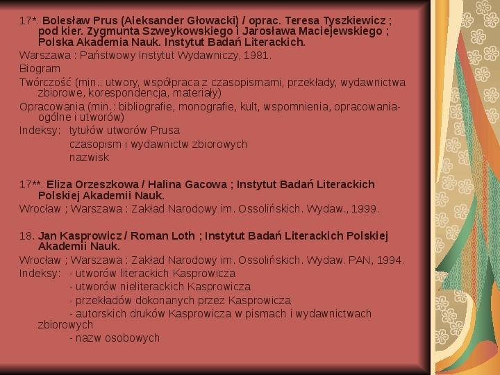 Źródła informacji z dziedziny historii literatury - Slajd 33