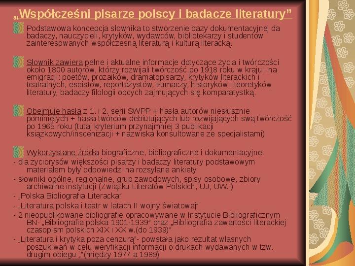 Źródła informacji z dziedziny historii literatury - Slajd 36
