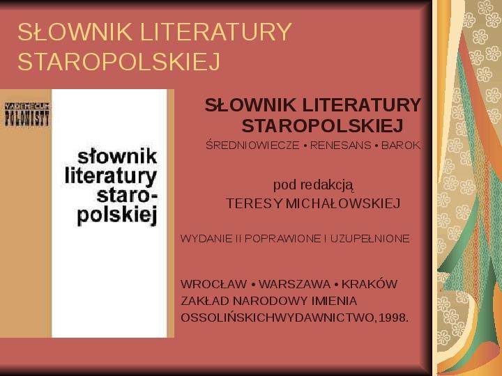 Źródła informacji z dziedziny historii literatury - Slajd 54