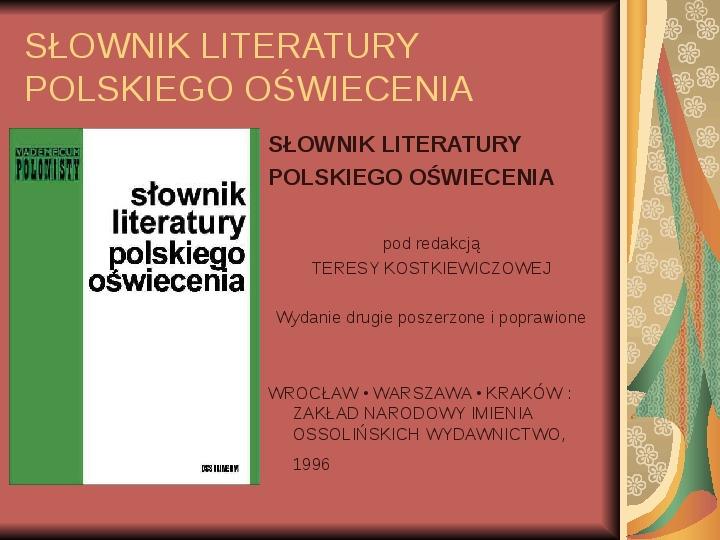Źródła informacji z dziedziny historii literatury - Slajd 58