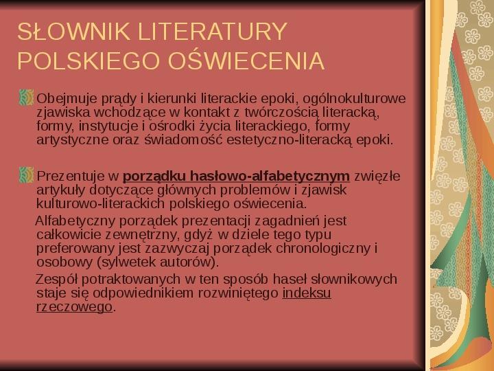 Źródła informacji z dziedziny historii literatury - Slajd 59