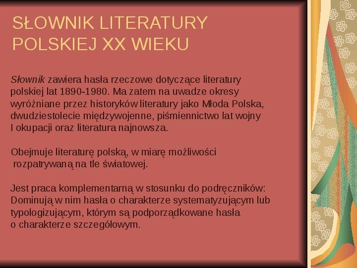 Źródła informacji z dziedziny historii literatury - Slajd 64