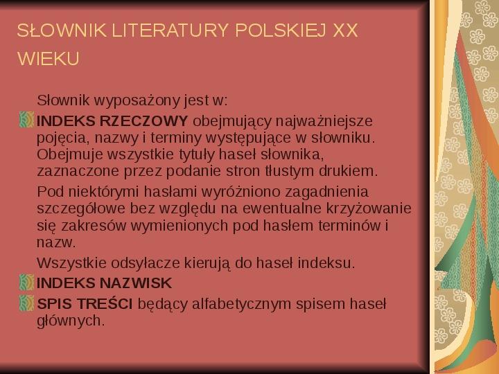 Źródła informacji z dziedziny historii literatury - Slajd 67