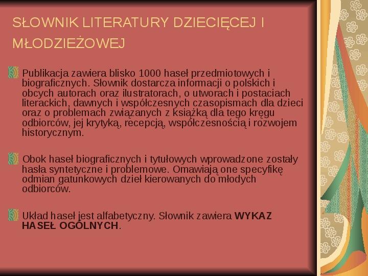 Źródła informacji z dziedziny historii literatury - Slajd 70