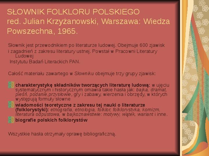Źródła informacji z dziedziny historii literatury - Slajd 71