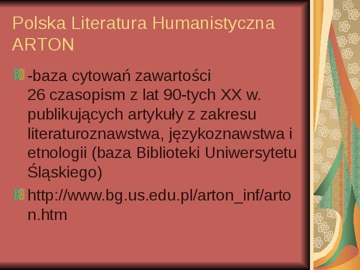 Źródła informacji z dziedziny historii literatury - Slajd 89