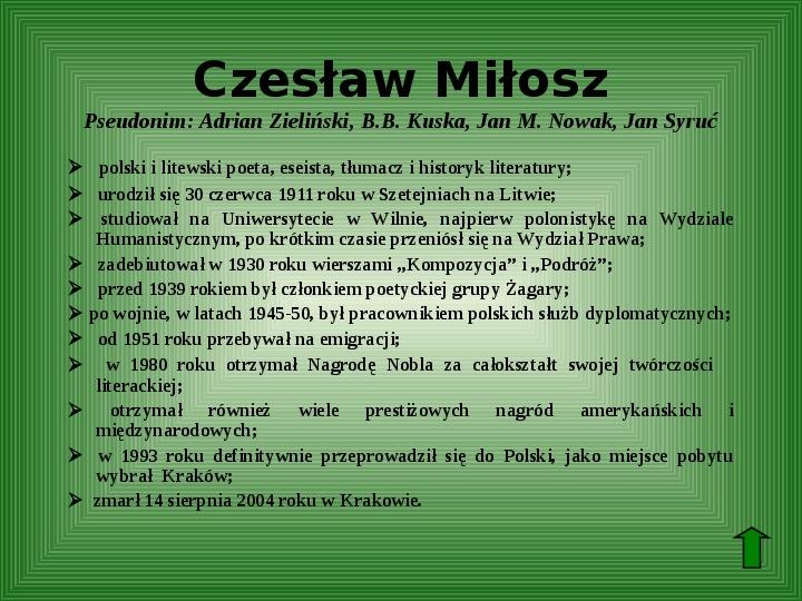 Polscy nobliści w dziedzinie literatury - Slajd 51