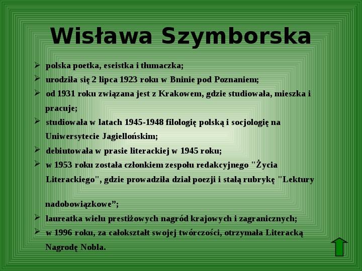 Polscy nobliści w dziedzinie literatury - Slajd 63