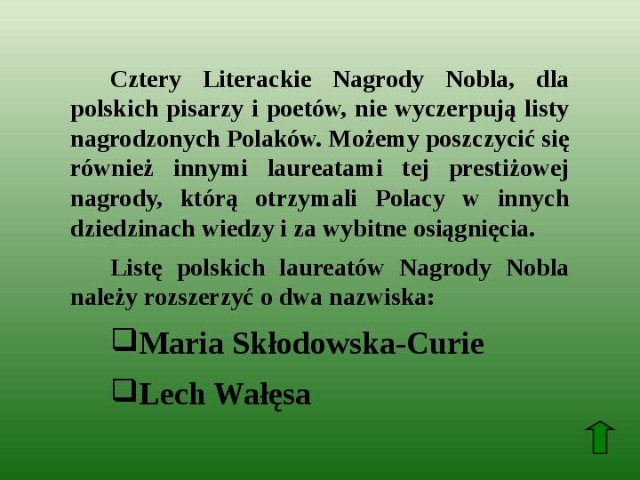 Polscy nobliści w dziedzinie literatury - Slajd 71