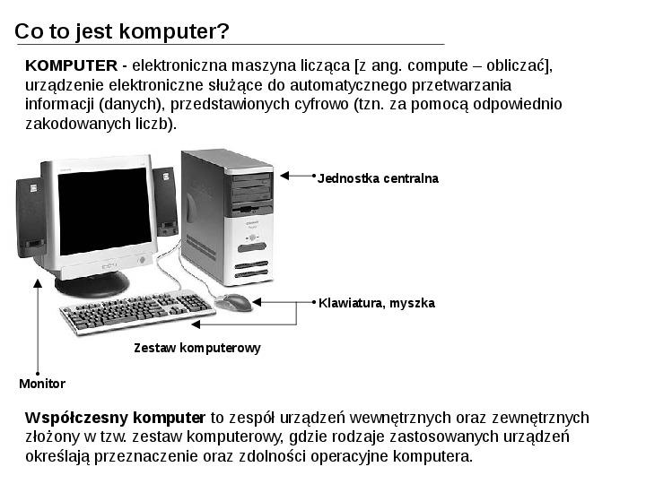 Budowa i działanie komputera - Slajd 1