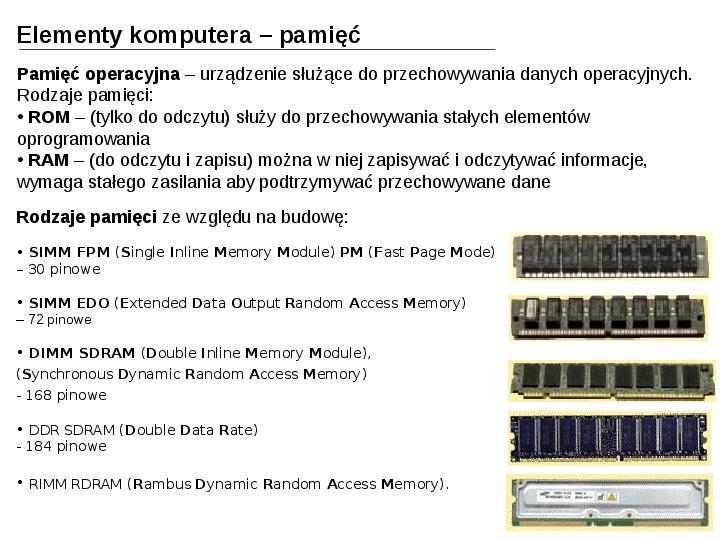 Budowa i działanie komputera - Slajd 19
