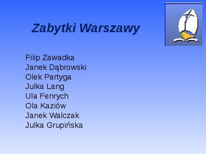 Zabytki Warszawy - Slajd 0