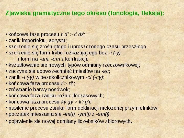 Historia Języka Polskiego - Slajd 15