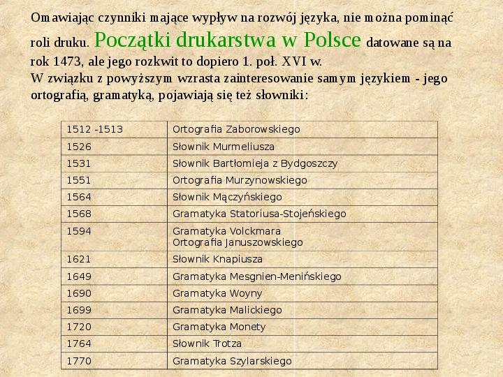 Historia Języka Polskiego - Slajd 19