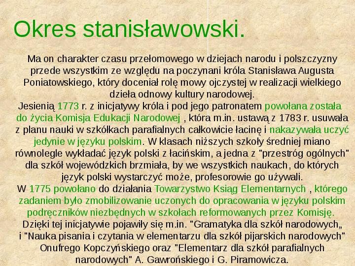 Historia Języka Polskiego - Slajd 38