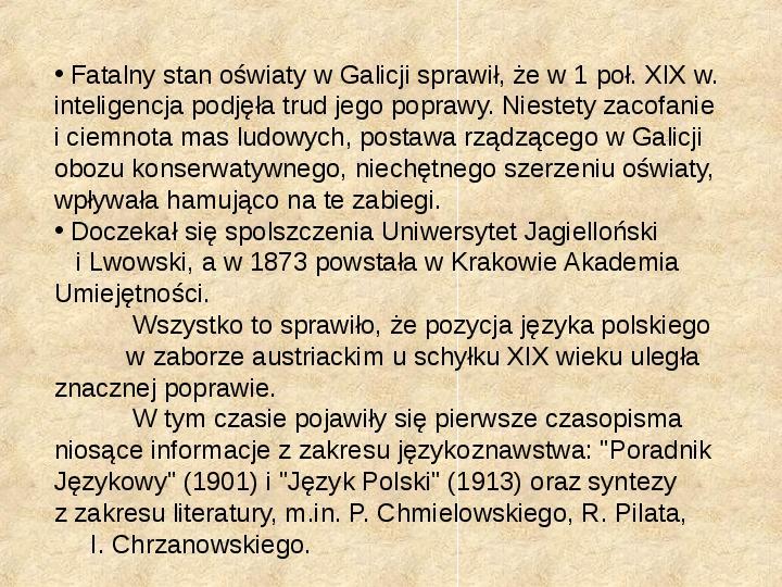 Historia Języka Polskiego - Slajd 44
